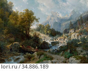 Steffan Johann Gottfried - Motiv Aus Der Ramsau Bei Berchtesgaden... Редакционное фото, фотограф Artepics / age Fotostock / Фотобанк Лори