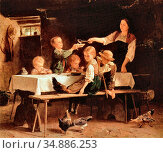 Vautier Marc Louis Benjamin - Kinder Beim Mittagessen - Swiss School... Редакционное фото, фотограф Artepics / age Fotostock / Фотобанк Лори
