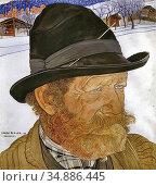 Bieler Ernest - Homme De Savièse - Swiss School - 19th Century. Редакционное фото, фотограф Artepics / age Fotostock / Фотобанк Лори