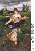 Bocklin Arnold - Flora Blumen Streuend - Swiss School - 19th Century. Редакционное фото, фотограф Artepics / age Fotostock / Фотобанк Лори