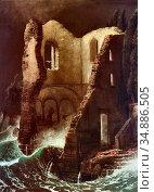 Bocklin Arnold - Die Kapelle - Swiss School - 19th Century. Редакционное фото, фотограф Artepics / age Fotostock / Фотобанк Лори