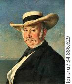 Buchser Frank - Johann August Sutter - Swiss School - 19th Century. Редакционное фото, фотограф Artepics / age Fotostock / Фотобанк Лори