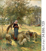 Chialiva Luigi - the Gentle Shepherdess - Swiss School - 19th Century. Редакционное фото, фотограф Artepics / age Fotostock / Фотобанк Лори