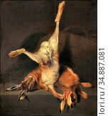 Segantini Giovanni - Still Life with Two Hares - Swiss School - 19th... Редакционное фото, фотограф Artepics / age Fotostock / Фотобанк Лори