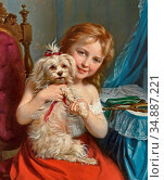 Zuber-Buhler Fritz - Young Girl with Bichon Frise - Swiss School - ... Редакционное фото, фотограф Artepics / age Fotostock / Фотобанк Лори