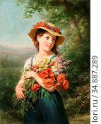 Zuber-Buhler Fritz - Jeune Fille Au Bouquet De Fleurs Des Champs - ... Редакционное фото, фотограф Artepics / age Fotostock / Фотобанк Лори