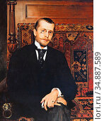 Bukovac Vlaho - Portrait of Dr Stjepan Miletic - Czech Republic and... Редакционное фото, фотограф Artepics / age Fotostock / Фотобанк Лори