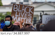 Protester at Black Lives Matter protest in front of the White House. Редакционное фото, фотограф Edwin Remsberg / age Fotostock / Фотобанк Лори