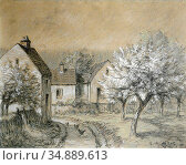 Millet Jean-François - Ferme En Hiver - French School - 19th and ... Редакционное фото, фотограф Artepics / age Fotostock / Фотобанк Лори