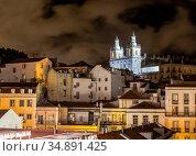 Night view of Lisbon, Portugal with the Monastery of Sao Vicente de Fora (2018 год). Стоковое фото, фотограф Сергей Фролов / Фотобанк Лори