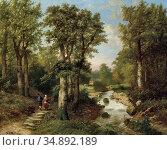 Koekkoek Pieter Hendrik - Landschap Met Wandelaars En Rivier - Dutch... Редакционное фото, фотограф Artepics / age Fotostock / Фотобанк Лори