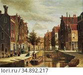 Koekkoek Willem - Blick Auf Einen Kanal Zwischen Holländischen Stadthäusern... Редакционное фото, фотограф Artepics / age Fotostock / Фотобанк Лори