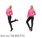 Pretty girl in winter pink jacket isolated on white. Стоковое фото, фотограф Elnur / Фотобанк Лори