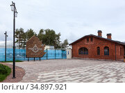 Kronshtadt, Russia-circa Sep, 2020: Logo and emblem in Russian of the Camp of Real Heroes on entrance. It is an all-Russian project of patriotic education of youth. Редакционное фото, фотограф Кекяляйнен Андрей / Фотобанк Лори