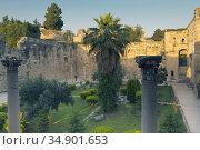 Selcuk, Izmir Province, Turkey. Courtyard of the Isa Bey Mosque, ... Стоковое фото, фотограф Ken Welsh / age Fotostock / Фотобанк Лори