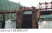 Water dam in the forest - water falls down the brick wall. Стоковое видео, видеограф Константин Шишкин / Фотобанк Лори