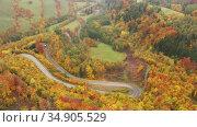 Picturesque autumn landscape with road between the hills. Czech Republic. Стоковое видео, видеограф Яков Филимонов / Фотобанк Лори