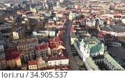 View from drone of modern Rzeszow cityscape in sunny spring day, Poland. Стоковое видео, видеограф Яков Филимонов / Фотобанк Лори