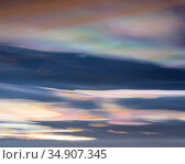 Nacreous clouds above Lake Myvatn, Iceland, February. Стоковое фото, фотограф Niall Benvie / Nature Picture Library / Фотобанк Лори