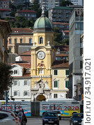 Croatia, Rijeka - Rijeka City Tower, below a bus with advertisement for European Capital of Culture 2020. Редакционное фото, агентство Caro Photoagency / Фотобанк Лори
