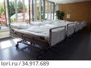 Berlin, Germany, freshly made hospital beds. Редакционное фото, агентство Caro Photoagency / Фотобанк Лори