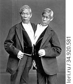 Chang and Eng Bunker (May 11, 1811 – January 17, 1874) were Thai-... Редакционное фото, фотограф Pictures From History / age Fotostock / Фотобанк Лори
