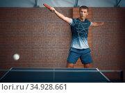 Man hits the ball, table tennis, ping pong player. Стоковое фото, фотограф Tryapitsyn Sergiy / Фотобанк Лори