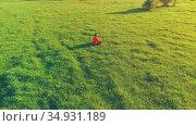 Low altitude radial flight over sport yoga man at perfect green grass. Sunset in mountain. Стоковое видео, видеограф Александр Маркин / Фотобанк Лори