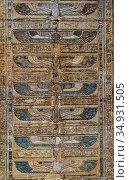 ancient color egypt images on wall (2019 год). Стоковое фото, фотограф Михаил Коханчиков / Фотобанк Лори