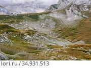 Mountain valley with alpine meadows near the snow line in the Caucasus. Стоковое фото, фотограф Евгений Харитонов / Фотобанк Лори