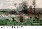 Beck Julia - Franskt Landskap Gréz - Swedish School - 19th Century. Редакционное фото, фотограф Artepics / age Fotostock / Фотобанк Лори