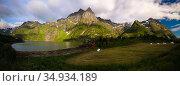 Landscape panoramic view to Eidevatnet lake , Austvagoy, Lofoten, Norway (2017 год). Стоковое фото, фотограф Сергей Майоров / Фотобанк Лори
