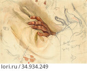 Bergh Richard - Gustaf Fröding 1 1 (Hand Study) - Swedish School - ... Редакционное фото, фотограф Artepics / age Fotostock / Фотобанк Лори