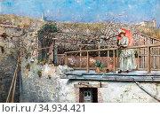 Feron William - the Red Parasol - Swedish School - 19th Century. Редакционное фото, фотограф Artepics / age Fotostock / Фотобанк Лори