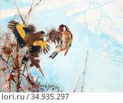 Liljefors Bruno - Goldfinches - Swedish School - 19th Century. Редакционное фото, фотограф Artepics / age Fotostock / Фотобанк Лори