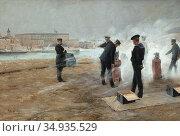 Lundberg Robert - Saluten - Swedish School - 19th Century. Редакционное фото, фотограф Artepics / age Fotostock / Фотобанк Лори