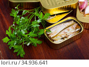 Natural mackerel fillets in open tin can and fresh parsley on wooden table. Стоковое фото, фотограф Яков Филимонов / Фотобанк Лори