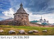 Каменная Корожная башня Соловецкого монастыря. Стоковое фото, фотограф Baturina Yuliya / Фотобанк Лори