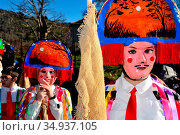 Chocalleiros. Traditional mask of the Entroido in Vilardevos, Orense... Редакционное фото, фотограф Pablo Méndez / age Fotostock / Фотобанк Лори