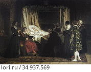 Queen Isabella the Catholic of Spain dictating her Will, detail. ... Стоковое фото, фотограф Juan García Aunión / age Fotostock / Фотобанк Лори