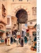 Odelmark Frans Wilhelm - Gate in Cairo - Swedish School - 19th Century... Редакционное фото, фотограф Artepics / age Fotostock / Фотобанк Лори