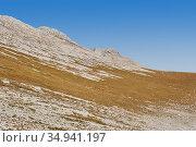 Dry mountain tundra on a highland plateau on a clear day. Стоковое фото, фотограф Евгений Харитонов / Фотобанк Лори