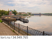 Uglich Kremlin and Hydroelectric Power Station (2019 год). Стоковое фото, фотограф Юлия Бабкина / Фотобанк Лори
