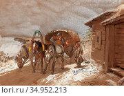 Sverchkov Nicholai Egorovich - Middle Horse - Carriage Drawn by Three... Стоковое фото, фотограф Artepics / age Fotostock / Фотобанк Лори