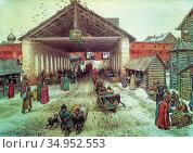 Vasnetsov Apollinari - Voskresensky Bridge in the 17th Century - ... Стоковое фото, фотограф Artepics / age Fotostock / Фотобанк Лори