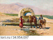 Zommer Richard Karlovich - Landscape in the Caucasus with Horse Trough... Стоковое фото, фотограф Artepics / age Fotostock / Фотобанк Лори