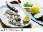 Fish plate,fish dish,sardine. Стоковое фото, фотограф LFL / easy Fotostock / Фотобанк Лори