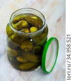 Pickled cucumbers with spices in glass jar. Стоковое фото, фотограф Яков Филимонов / Фотобанк Лори