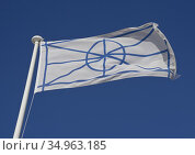 Flag of Vlach as part of flags of autonomous regions displayed by... Редакционное фото, фотограф Julio Etchart / age Fotostock / Фотобанк Лори