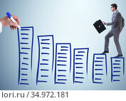 Businessman in career progress concept. Стоковое фото, фотограф Elnur / Фотобанк Лори